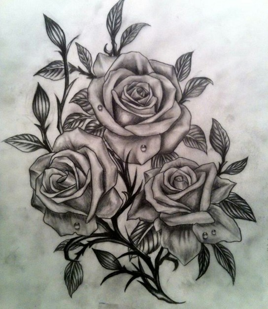 3 Grey Roses Tattoos Design