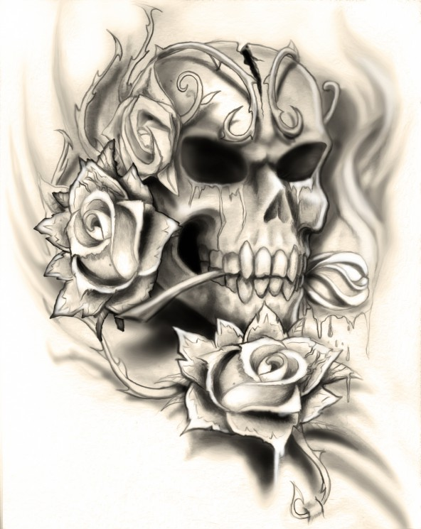 3 Skull And Roses Tattoo Designs