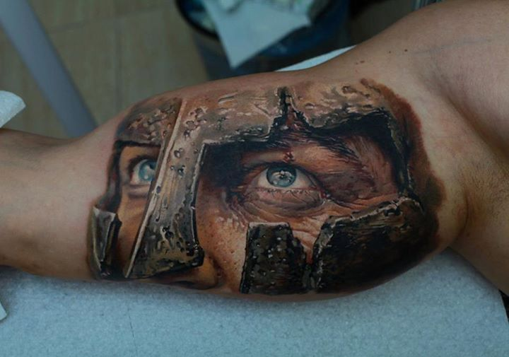 3D Attacking Warrior Tattoo On Muscles