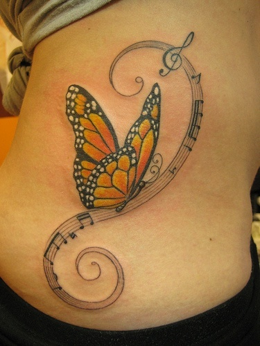 3D Butterfly Insect Tattoo On Back Shoulder