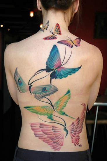 3D Butterfly Tattoo On Neck Back For Girls