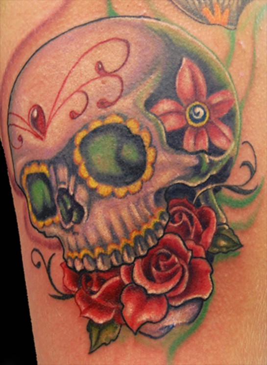 3D Color Skulls And Roses Tattoos On Half Sleeve