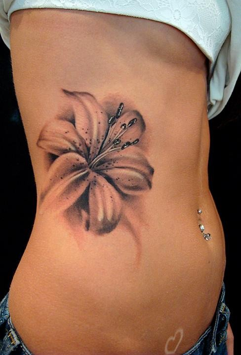 3D Feather n Blue Flowers Tattoo On Ribs