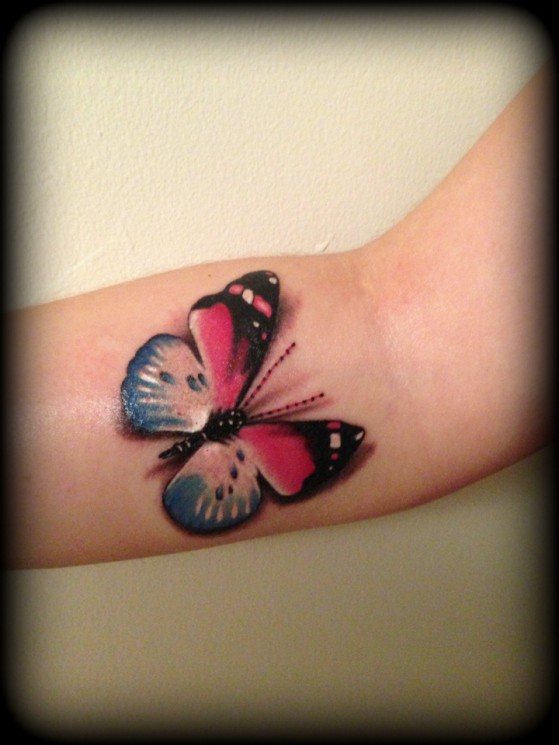 3D Owl With Pink Ribbon Tattoos
