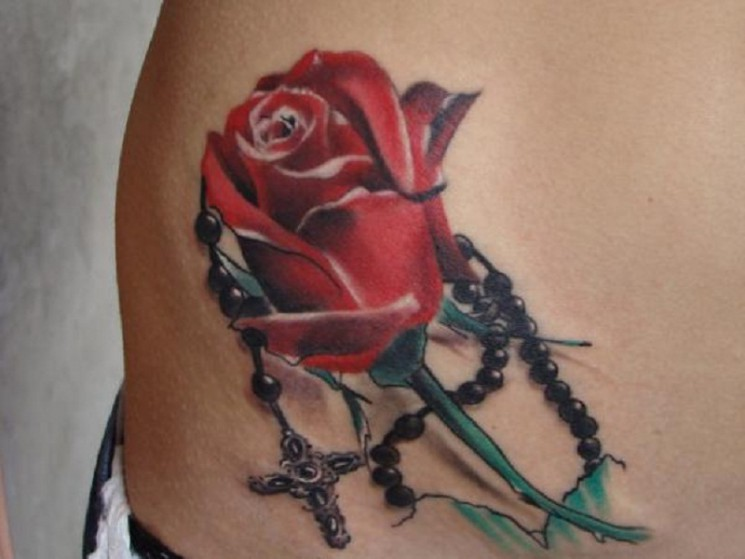 3D Red Rose And Rosary Tattoos On Hip