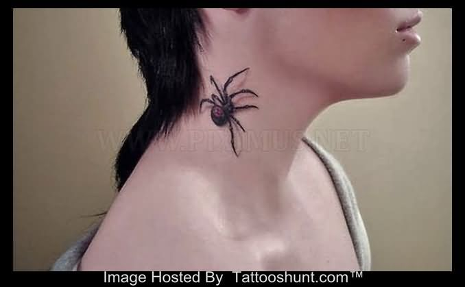 3D Spider Side Neck Tattoo