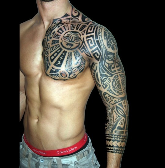 3D Tribal Tattoo On Shoulder And Chest