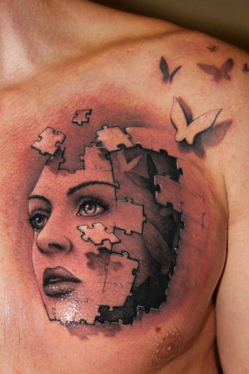 3D Woman Lady Face Tattoos On Whole Back