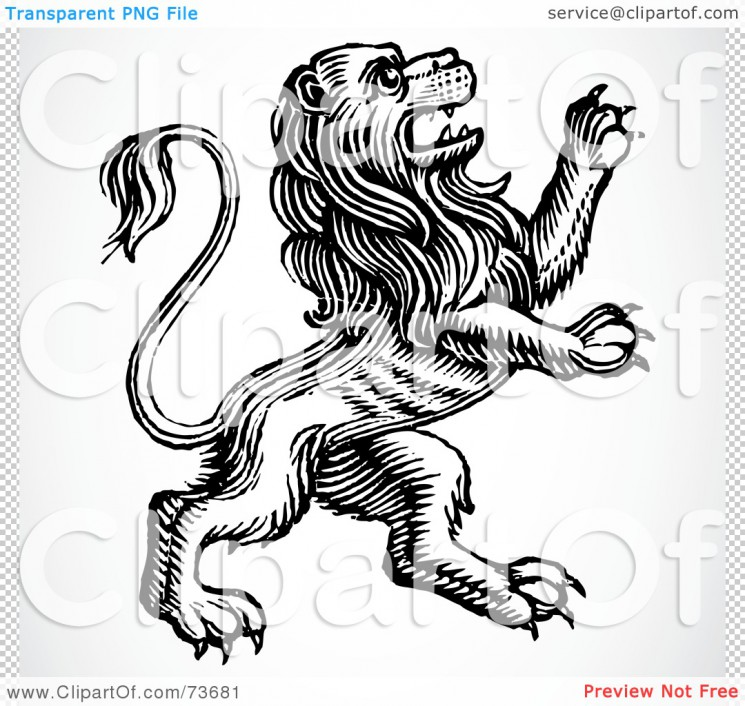 A Black And White Standing Lion Tattoo Design
