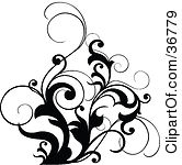 A Black Leafy Vine Design Accent With Curling Leaves Tattoo Design
