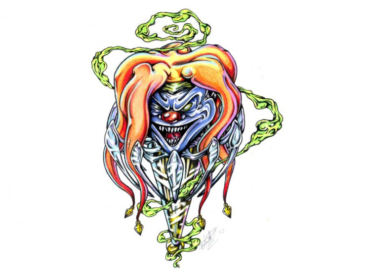 A Clown Mask Tattoo Design
