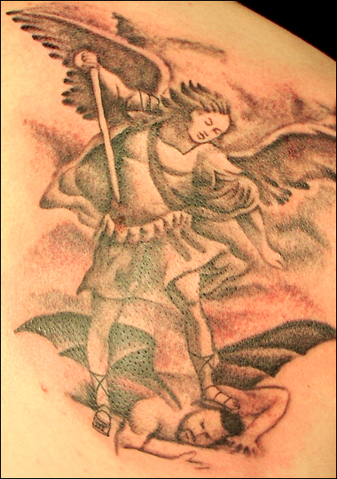 A Devil Woman With Wings Tattoo On Shoulder