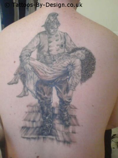 A Firefighters Prayer Tattoo On Back Of Body