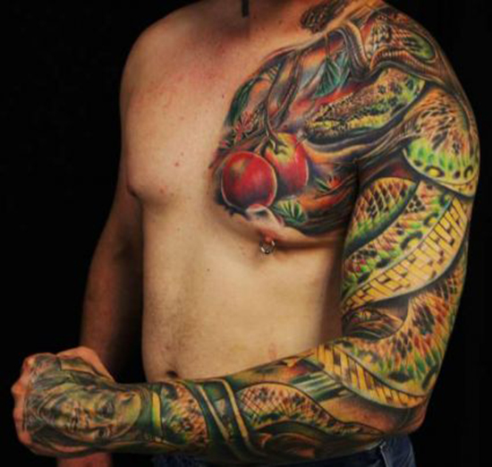 A Funny Reptile Tattoo On Chest