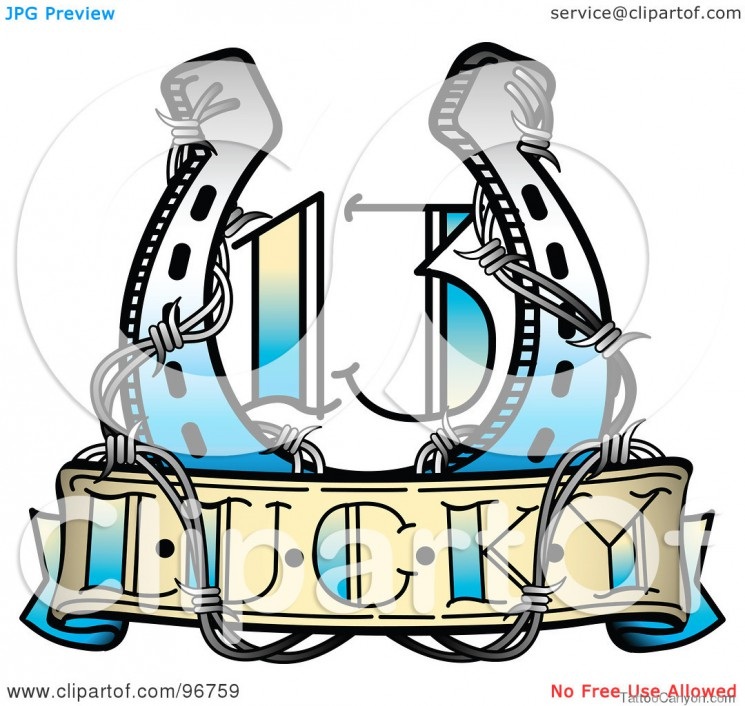 A Lucky 13 Horseshoe And Barbed Wire Tattoo Design