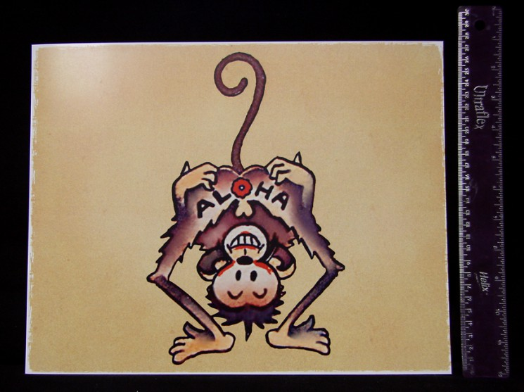 A Silly Monkey Making A Funny Face And Hanging Upside Down From A Branch Royalty Tattoo Design