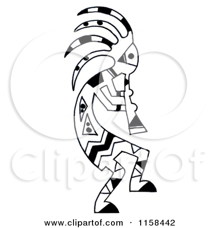 A Sketched Black And White Kokopelli Flute Player Tattoo Design