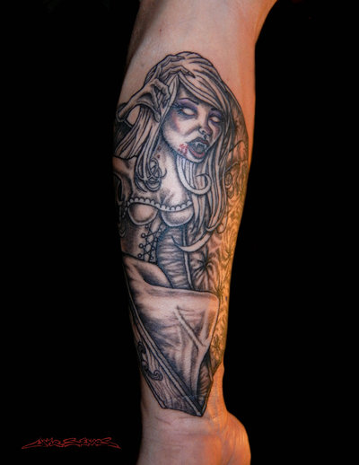 A Vampire Girl Tattoo Design On Arm