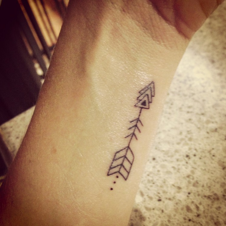 A Very Little Black Arrow Tattoo On Wrist
