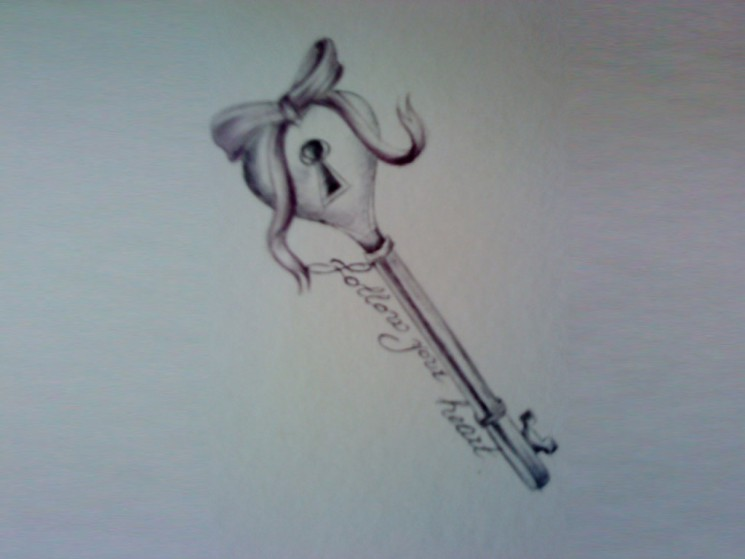 A Very Lovely Key Tattoo Design