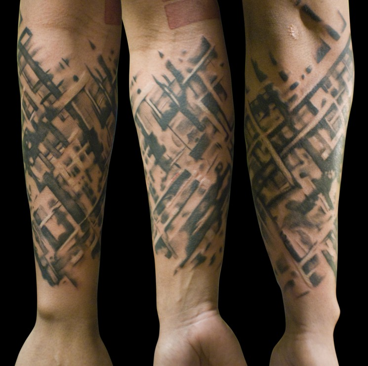 Abstract Lettering Sleeve Tattoo