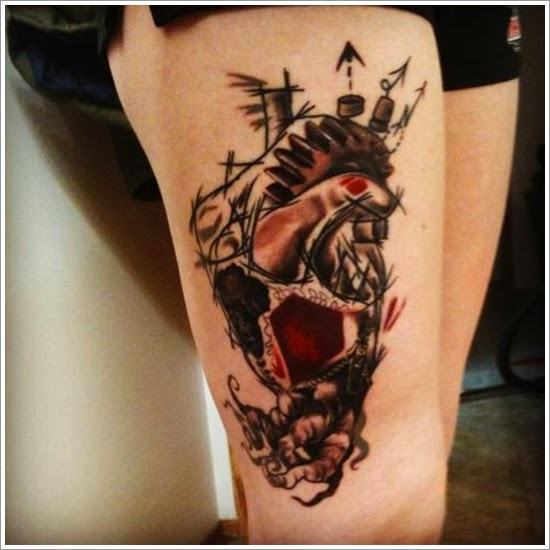 Abstract Thigh Tattoos For Women
