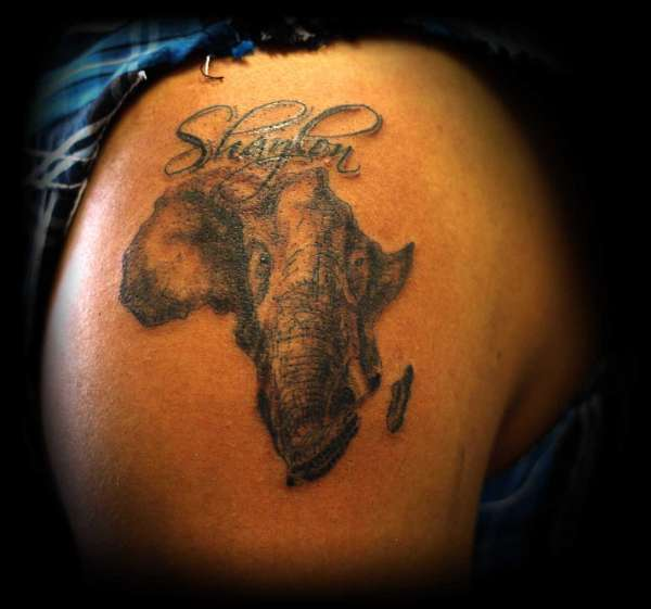 Africa Map Tattoo On Back