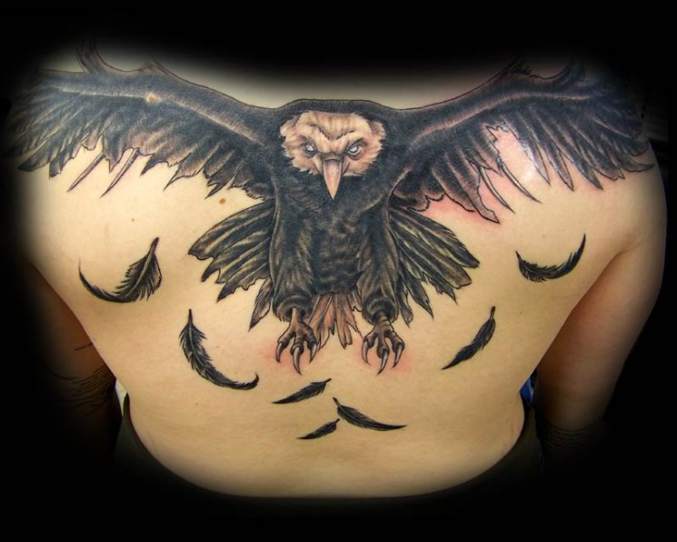 Albanian Eagle Tattoo On Upper Back