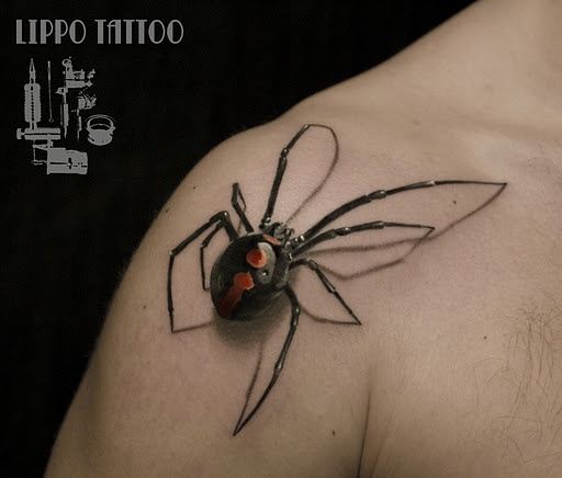 Amazing 3D Spider Tattoo On Chest