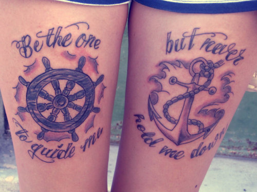 Amazing Anchor Tattoo With Ship Steering Wheel