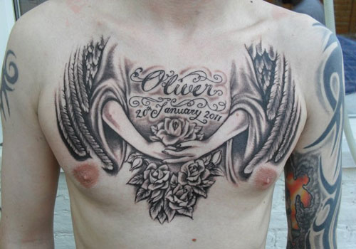 Amazing Angel Wings Tattoos On Chest