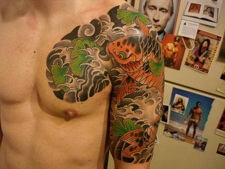Amazing Aqua Tattoo On Chest