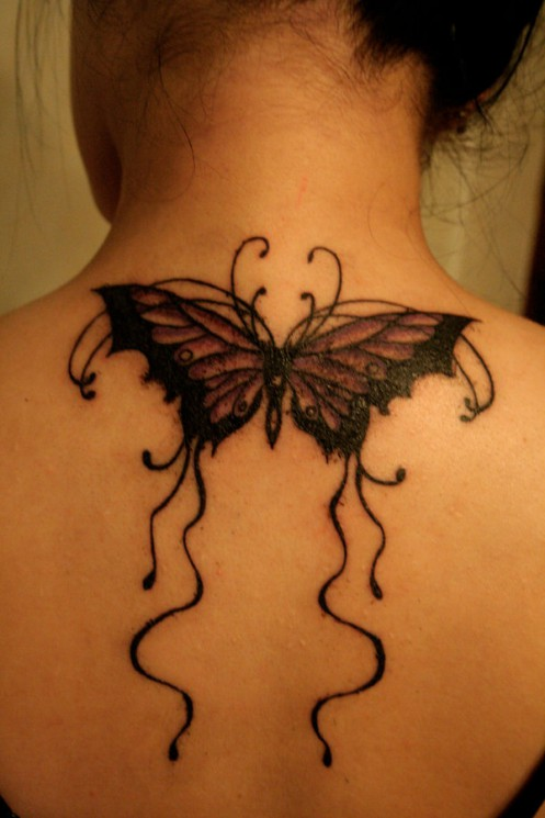 Amazing Butterfly Ivy Vine Tattoo For Arm