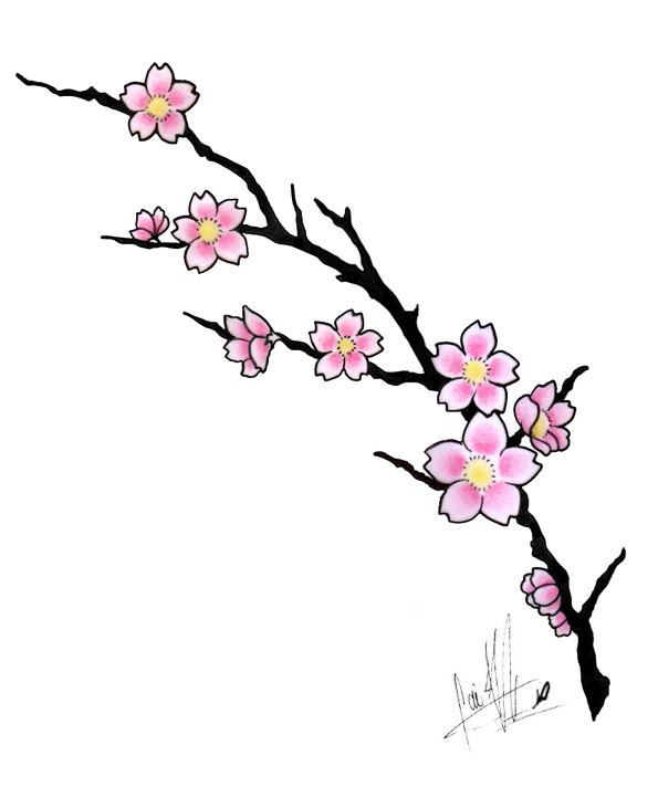 Amazing Cherry Blossom Flowers Tattoo Design