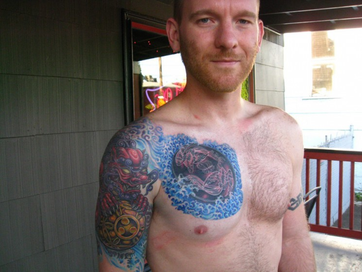 Amazing Colorful Chest And Muscles Tattoos