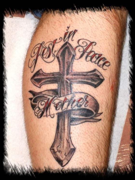 Amazing Cross Banner Tattoo On Upper Back