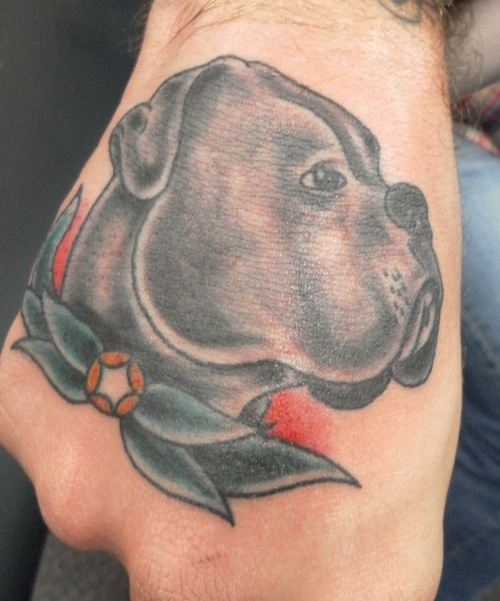 Amazing Dog Tattoo On Hand