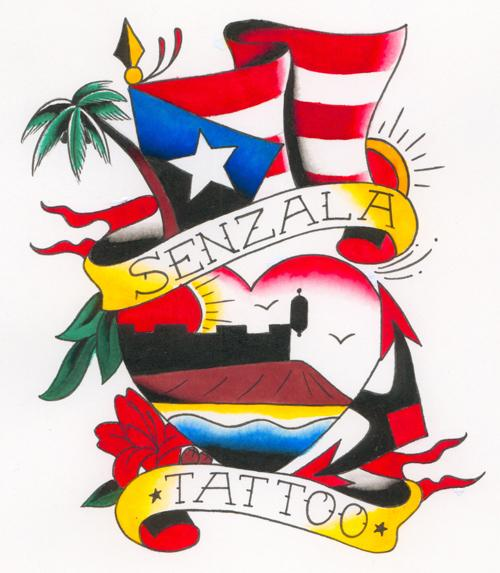 Amazing Flag Heart With Banner Tattoo Design