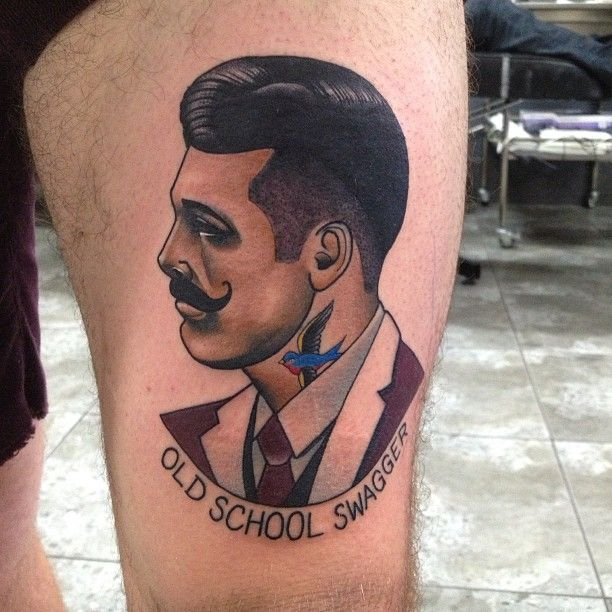 Amazing Gentleman Portrait Tattoo On Muscles