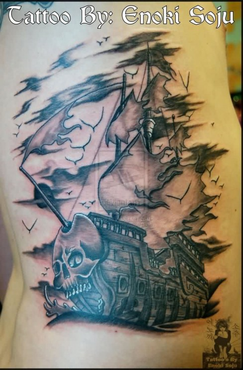 Amazing Grey Ink Ghost Ship Rib Tattoo