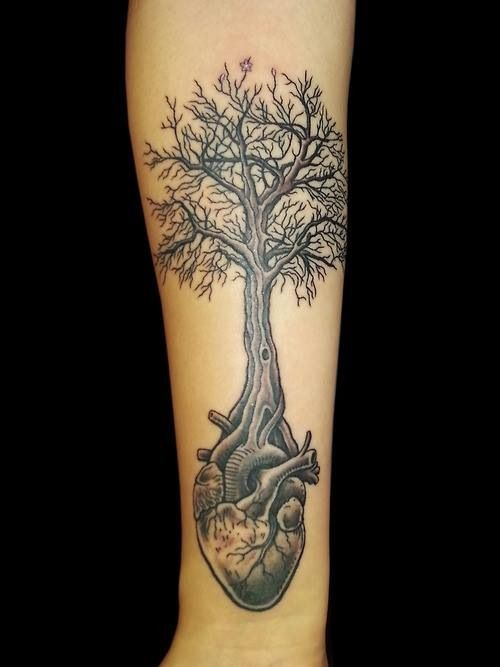 Amazing Heart Root Tree Tattoo On Arm