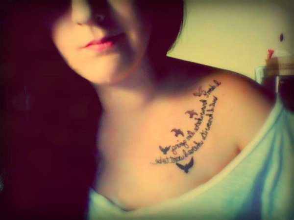 Amazing Literary Tattoo On Collarbone For Girls