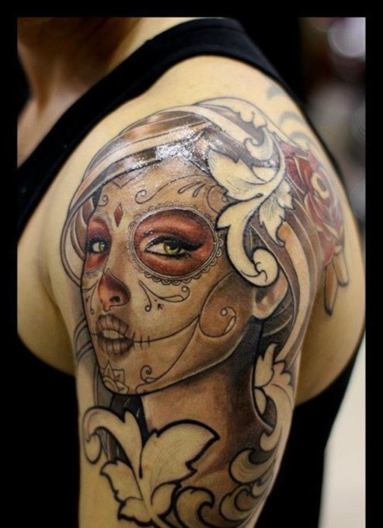 Amazing Mexican Skull Girl Tattoo On Shoulder