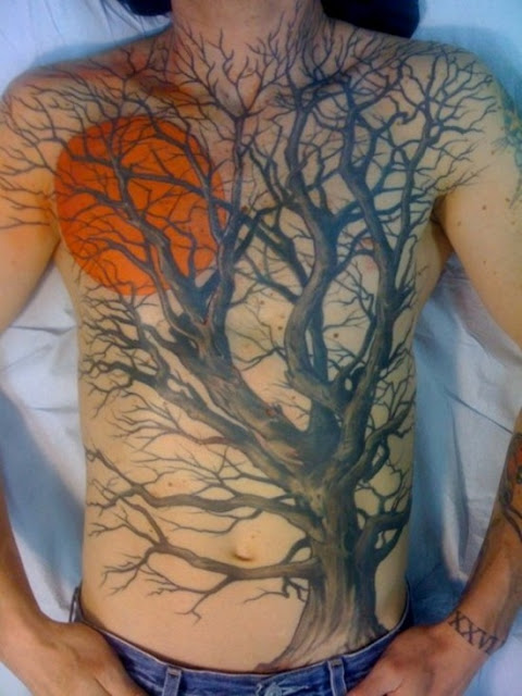 Amazing Harvest Moon Tattoo On Right Shoulder