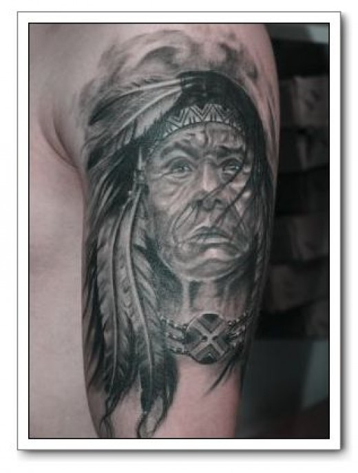 Amazing Native American Portrait Tattoo On Biceps