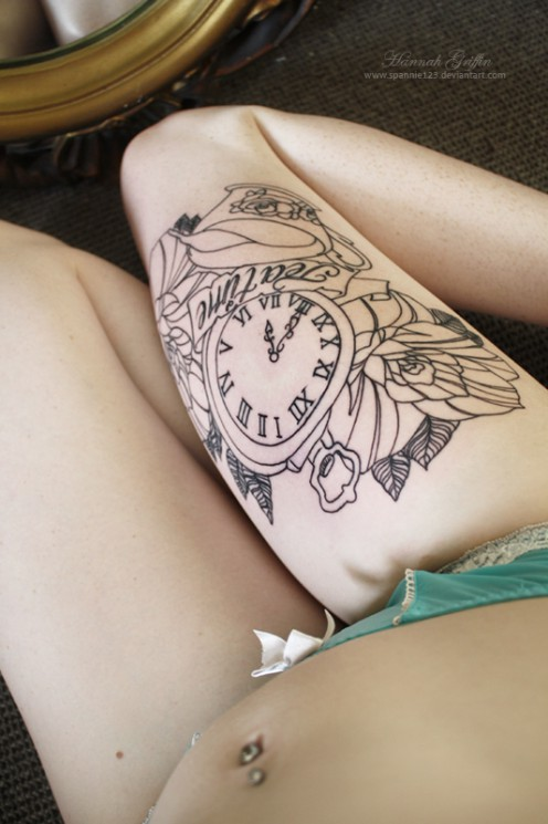 Amazing Outline Thigh Tattoos