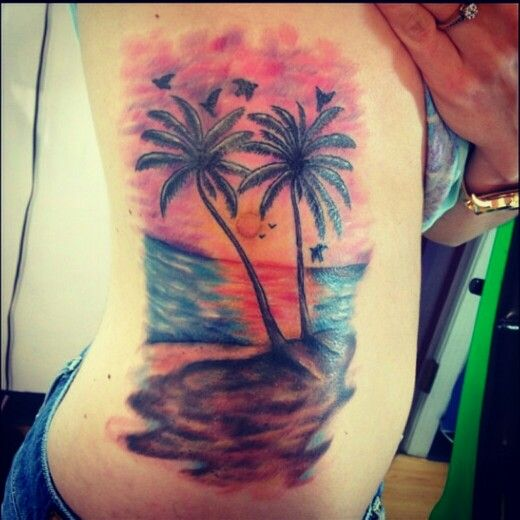 Amazing Palm Tree Tattoo On Ribs
