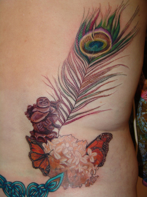 Amazing Peacock Feather Tattoo On Back