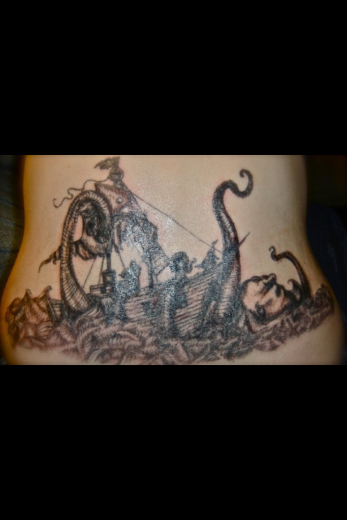 Amazing Pirate Ship And Octopus Tattoos