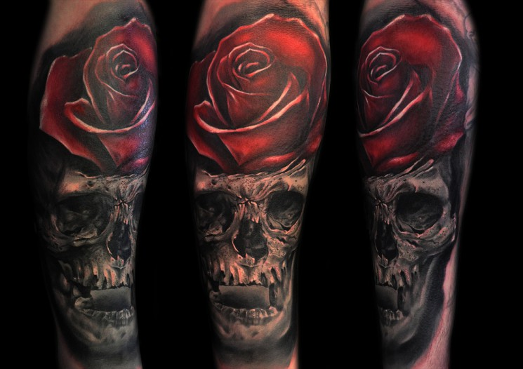 Amazing Red Rose And Skull Tattoos